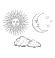 Sun moon with face and clouds engraving vector image