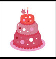sweet cake on biege vector image vector image