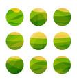 vegan food green field with yellow sun vegetarian vector image vector image
