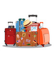 vintage and modern travel bag vector image vector image