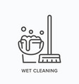 wet cleaning line icon outline vector image vector image