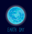 earth day planet earth on dark blue vector image