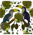 seamless patterns with a pair of tropical vector image
