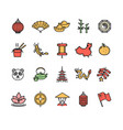 symbol of china color thin line icon set vector image