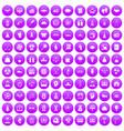 100 success icons set purple vector image vector image