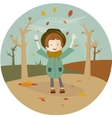 a girl and leaf fall in the circle vector image vector image