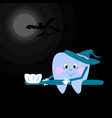 a tooth in a hat flies on a toothbrush vector image