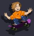 abstract of a boy on a skateboard vector image vector image