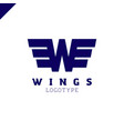 abstract wings and letter w logo template vector image vector image