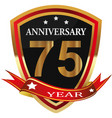 anniversary 75 th label with ribbon vector image vector image