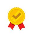 award rosette ribbon with check mark vector image