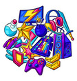 background with gaming items cyber sports vector image vector image
