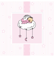 Birth card baby girl vector image