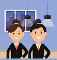 business man and woman workscape ceiling lamps vector image