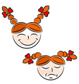 Cartoon girls face eps10 vector image vector image