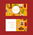 cartoon wild west elements business card vector image vector image