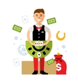 Casino dealer Flat style colorful Cartoon vector image vector image