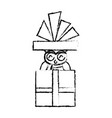christmas owl in gift box surprise present with vector image