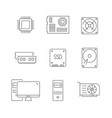 computer components line icons on white background vector image