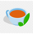 cup of tea with mint leaf isometric icon vector image