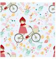 cute red hood girl ride bicycle in spring flower vector image vector image