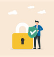 cyber security man hold shield with padlock vector image