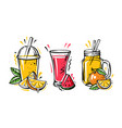 different glasses with juice and fruits on white vector image vector image