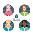 diverse people of female customer support operator vector image vector image