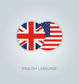english language icon usa uk flags vector image vector image