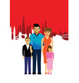 family on a cityscape background vector image vector image