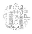 fitness icons set outline style vector image