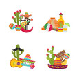 flat mexico set isolated on white vector image