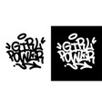girl power graffiti tag in black over white and vector image vector image