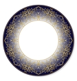 Gold circular pattern on a blue background vector image