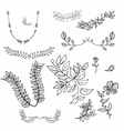 hand drawing floral leaf ornament sketch vector image