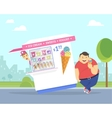 Happy fat man eating ice cream in the park vector image vector image