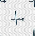 Heartbeat sign Seamless pattern with geometric vector image vector image