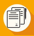 icon document on white circle with a long shadow vector image vector image