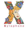 letter X xylophone vector image vector image
