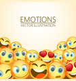 modern yellow laughing three emoji emotions vector image
