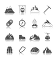 mountain icons black vector image vector image