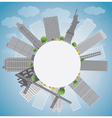 New York city skyline and circle vector image vector image