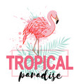 pink flamingo and green palm leaves vector image vector image