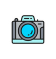 professional photo camera flat color line icon vector image