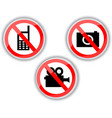 prohibiting signs with telephone video and photo vector image vector image