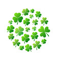 round shape made of green small shamrocks vector image vector image