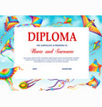 school diploma template with cartoon kites vector image vector image