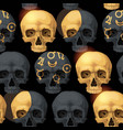 seamless pattern with black human skulls vector image vector image