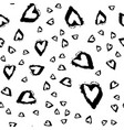 seamless pattern with brush heartss black vector image vector image