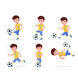 set boy soccer player plays football vector image